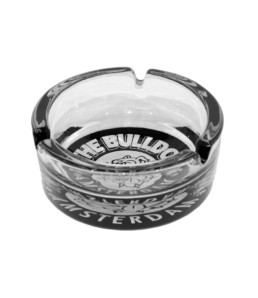glass ashtray black & white