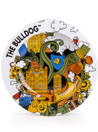 The Bulldog Tin Ashtray is back with a new artistic design. It is still a very lightweight tin ashtray with full colour print of The Bulldog logo. Ashtray 120mm in diameter.