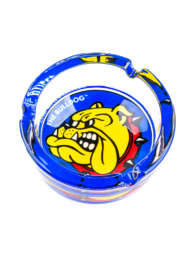 The Bulldog glass ashtray has a full colour logo in the centre that is covered by a layer of glass to ensure our best friend Joris is always looking his best, easily cleaned / washed and made of high quality glass this ashtray looks good on any table.