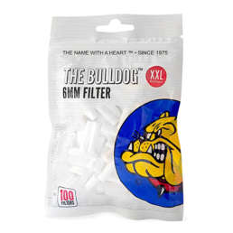 The Bulldog 6mm XXL Acetate filter tips. Each bag contains 100 tips. Made in the E.U.