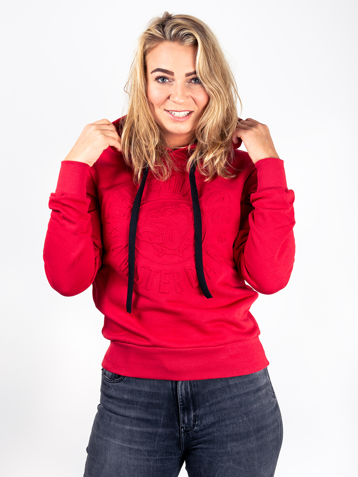 This is a Embossed Hoodie in Red