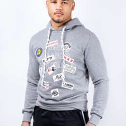 This is the Patch Work Hoodie in Grey