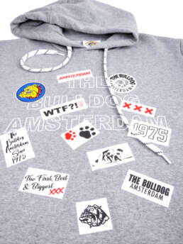 this is a Patch Work Hoodie Grey
