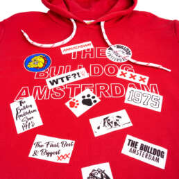 this is Patch Work Hoodie Red